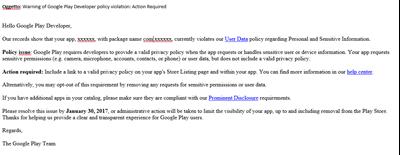 Aggiornamento Privacy per GooglePlay